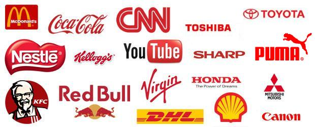 Kırmızı logolu markalar.